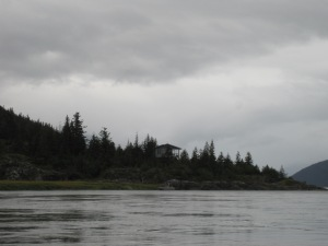 first spotting of the cabin on Taku Point
