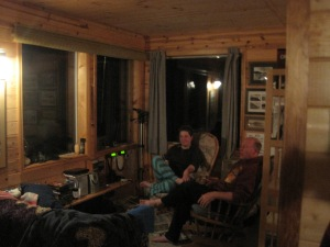 relaxing at night in the cabin