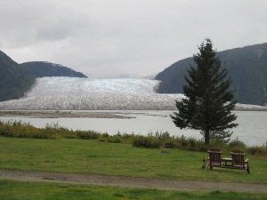 view from Taku Lodge, of Hole in the Wall Glacier