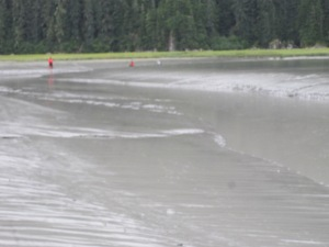 Here we were skiing across the mud flats trying to get out of the slough
